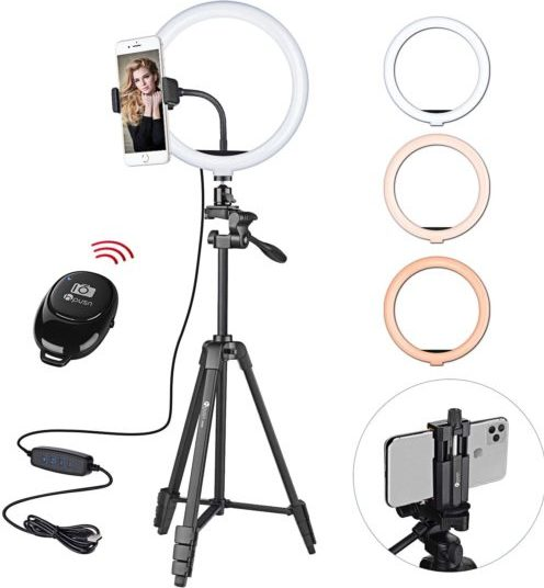 """HPUSN 10.3"""" Selfie Ring Light with Tripod Stand & Flexible Phone Holder"""